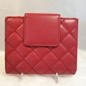 Buxton Red Bi-fold Quilted Leather Wallet